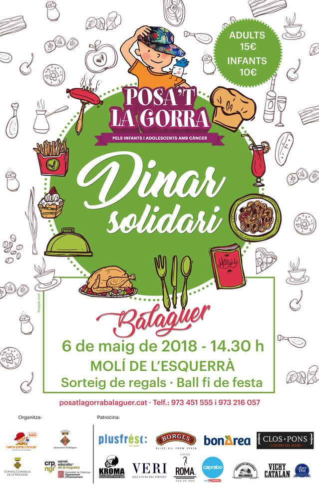 """Dinar solidari """"Posa't la Gorra"""" el proper 6 de Maig"""