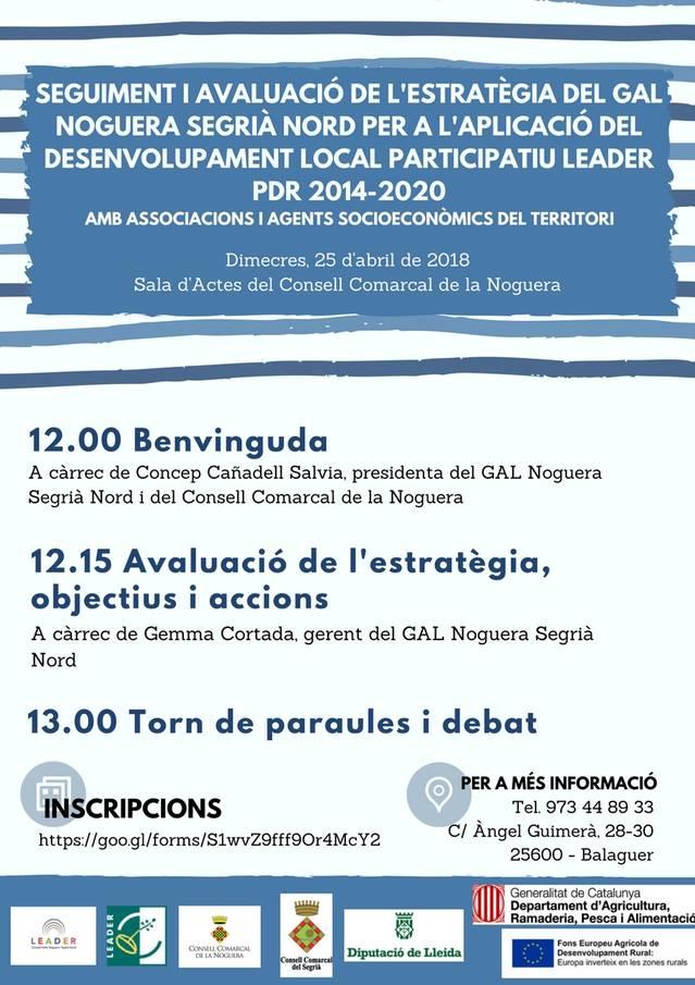 El GAL Noguera Segrià Nord convoca a associacions i agents socioeconòmics del territori per fer un seguiment i avaluació de l'estratègia 2014-2020