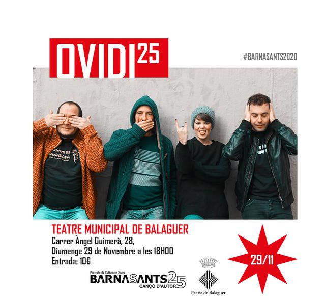 El proper 29 de novembre Balaguer serà escenari del Barnasants al Teatre municipal amb l'homenatge a Ovidi Montllor