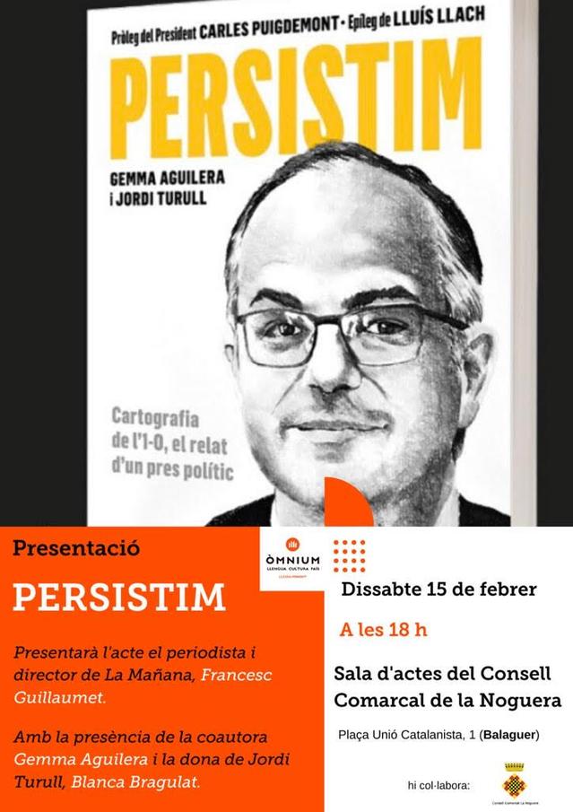 El proper dissabte es presentarà el llibre de Jordi Turull a Balaguer