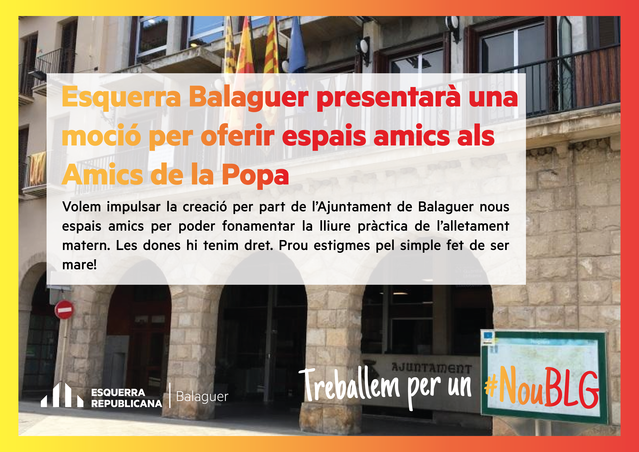 Esquerra Republicana de Balaguer presentarà una moció per oferir espais amics per l'alletament matern