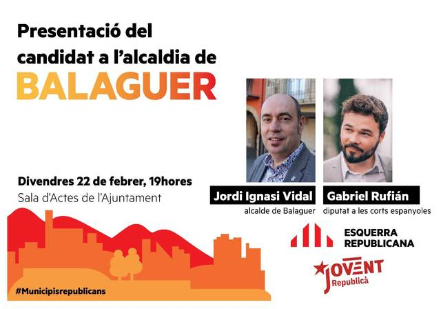 Gabriel Rufián presentarà avui Jordi Ignasi Vidal