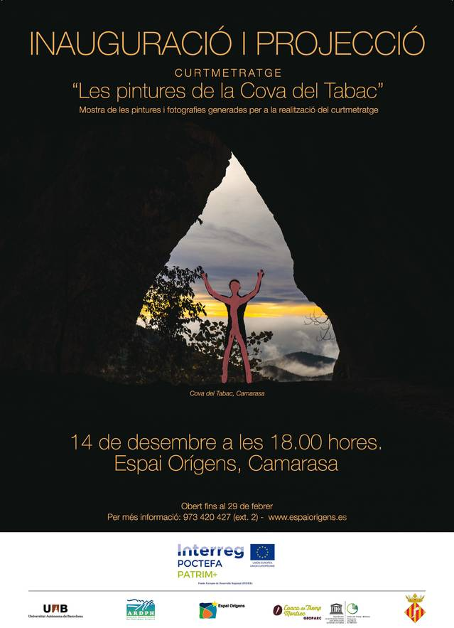 """Inauguració i projecció  del curtmetratge  """"Les pintures de la Cova del Tabac"""" al Centre Espai Orígens de Camarasa"""