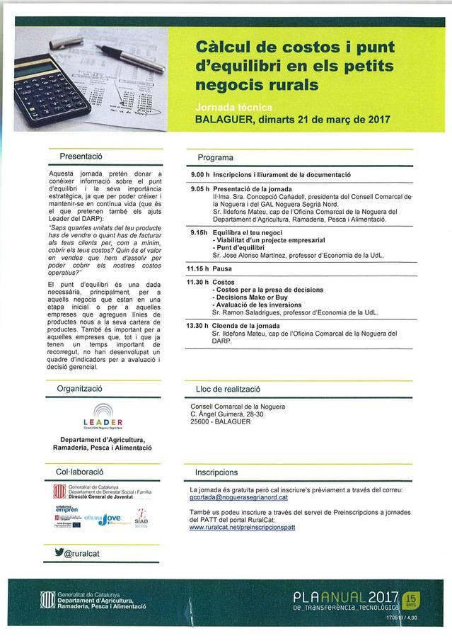 """Jornada tècnica """"Càlcul de costos i punts d'equilibri en els petits negocis rurals"""""""