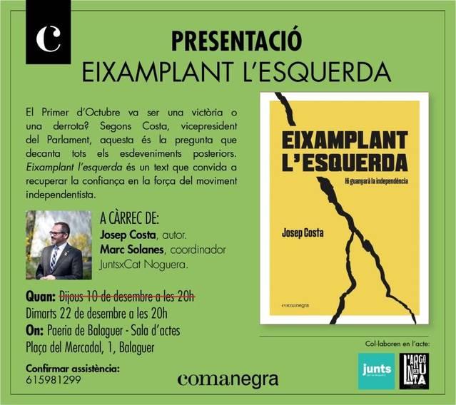 Josep Costa presentarà el seu darrer llibre a Balaguer