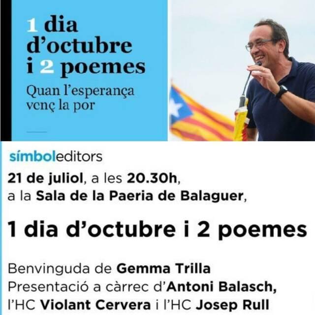 Josep Rull presentarà el seu llibre de presó a Balaguer