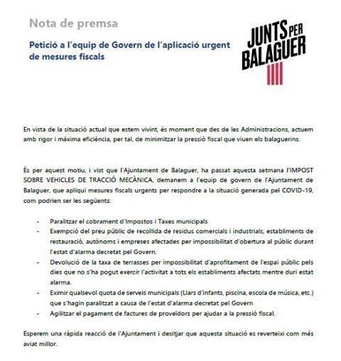 Junts per Balaguer demana a l'equip de govern l'aplicació urgent de mesures fiscals