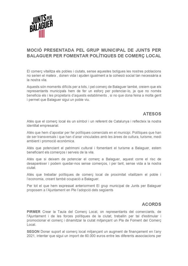 Junts per Balaguer presenta una moció per fomentar polítiques de comerç local