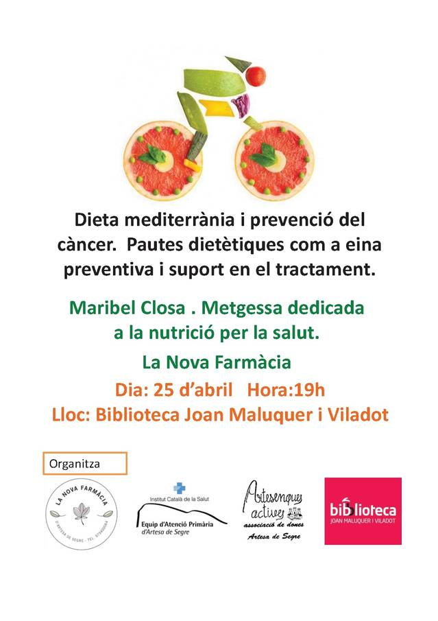 La Biblioteca d'Artesa acollirà una xerrada sobre dieta mediterrània i prevenció del càncer