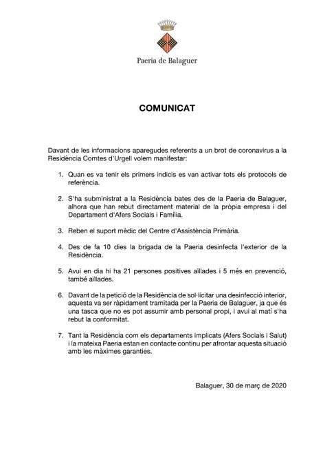 La Paeria de Balaguer ha sol•licitat a la Subdelegació del Govern la desinfecció interior de la residencia Comtes d'Urgell de Balaguer per un brot de coronavirus