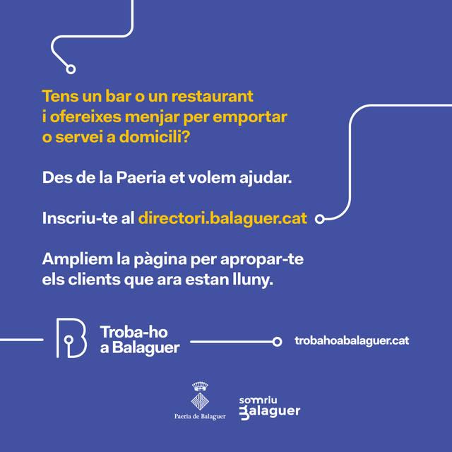 La Paeria de Balaguer publicitarà els bars i restaurants de la ciutat que ofereixin menjars per emportar o servei a domicili