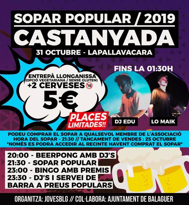 L'ajuntament de Balaguer i l'associació Joves BLG organitzen un sopar popular jove de Castanyada