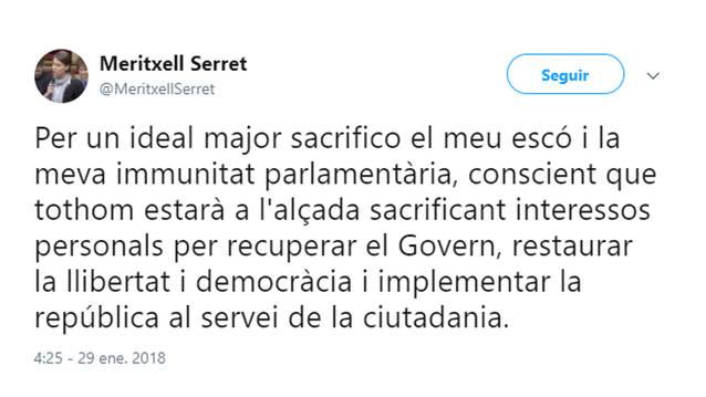 Meritxell Serret també renuncia a l'acta de diputada