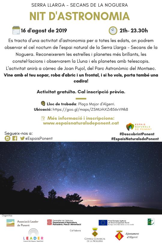 Nit d'astronomia a la Serra Llarga-secans de la Noguera