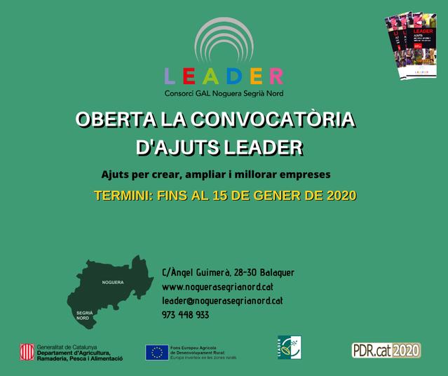 Oberta la convocatòria 2019 dels ajuts Leader per a la creació, ampliació i millora d'empreses de la Noguera i el Segrià Nord