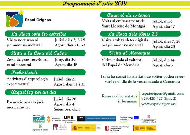 Programació d'activitats d'estiu a l'Espai Orígens de Camarasa