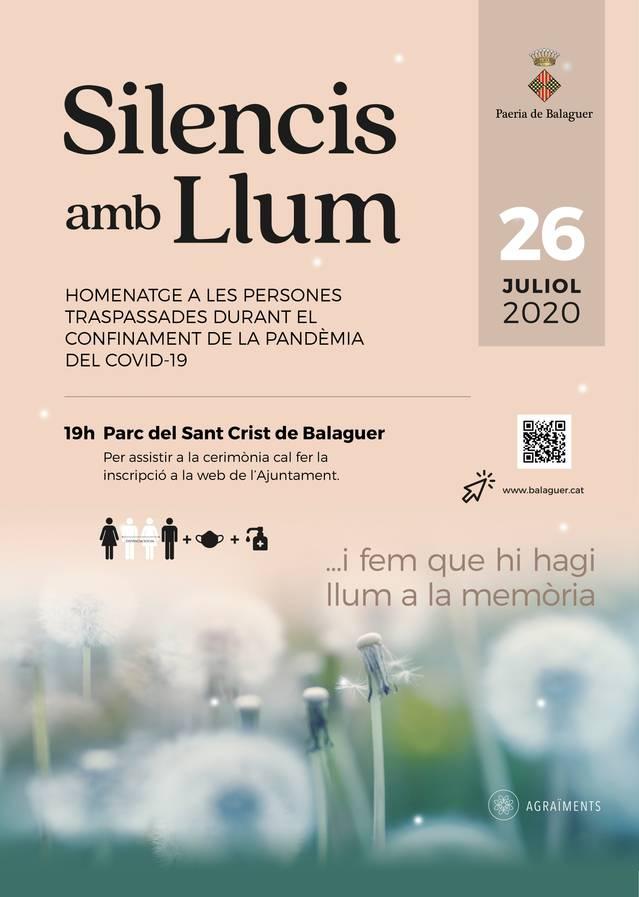 """""""Silencis amb llum"""", la cerimònia que Balaguer prepara per les persones mortes en el període de confinament"""