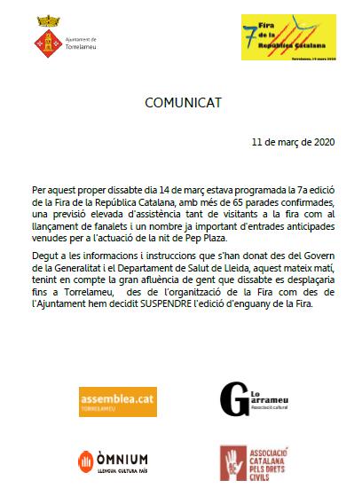 Suspesa la 7ª Fira de la República Catalana de Torrelameu