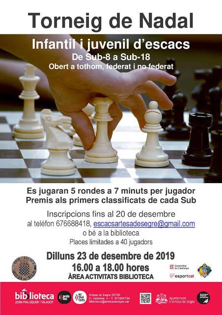 Torneig de Nadal infantil i juvenil d'escacs a la Biblioteca d'Artesa de Segre