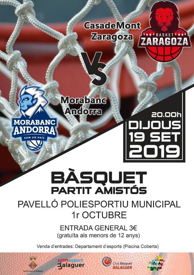 Un any més, Balaguer acollirà un partit del més alt nivell: Basket Zaragoza - Morabanc Andorra