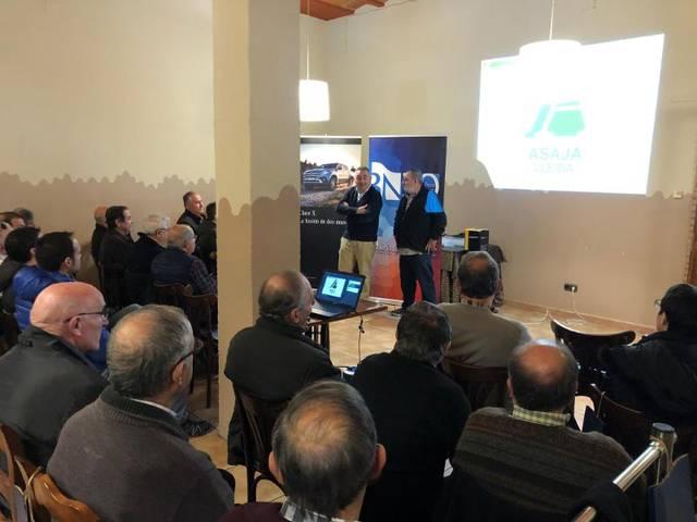 Una vuitantena d'assistents a la jornada agrària d'ASAJA Lleida celebrada a la Noguera