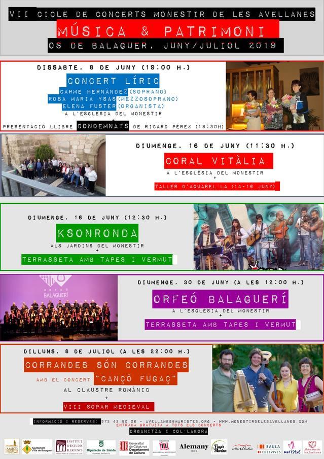 """VII Cicle de Concerts """"Música & Patrimoni"""" del Monestir de les Avellanes"""