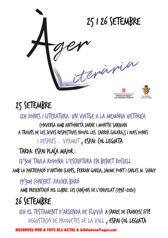 Vuit escriptors i escriptores de Ponent es donen cita en la primera edició d'Àger Literària, aquest cap de setmana