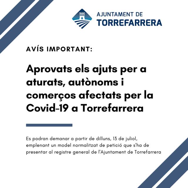 57.000 € per a aturats, autònoms i comerços afectats per la Covid-19 a Torrefarrera