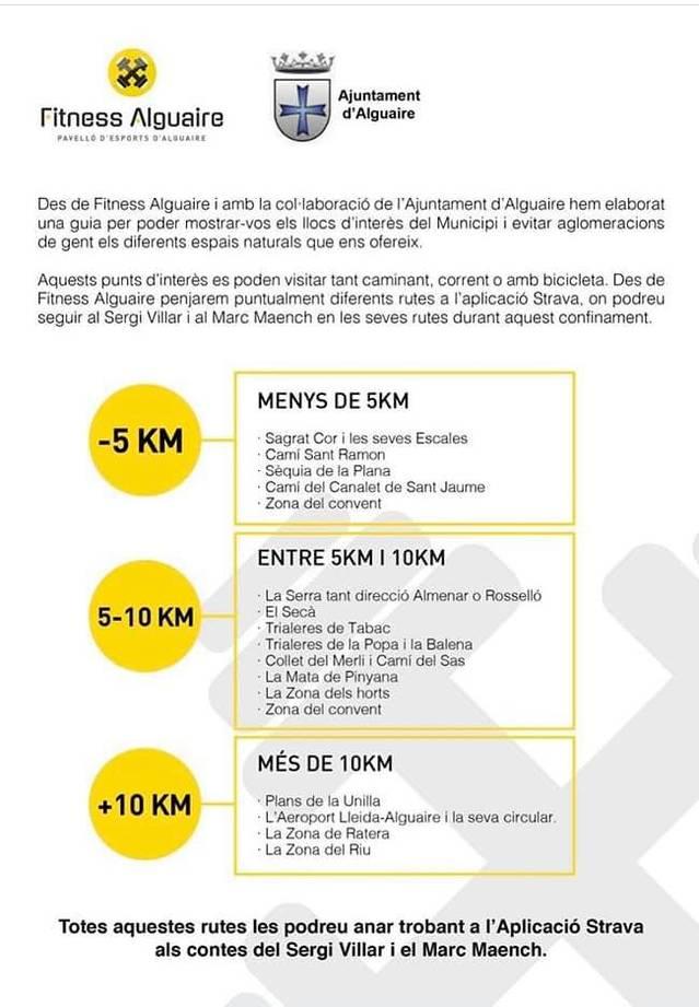 Alguaire dissenya rutes per fer esport pel terme municipal