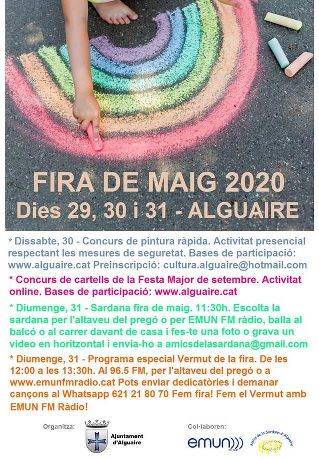 Alguaire programa una Fira de Maig 2020 confinada