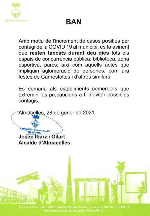 Almacelles tanca deu dies tots els espais de concurrencia pública i suspèn festes per l'escalada dels casos de Covid 19 a la localitat