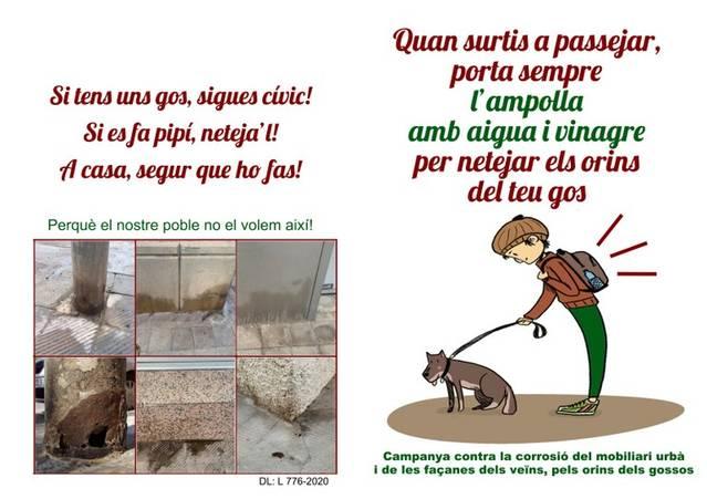 Alpicat fa campanya apel·lant al civisme dels propietaris de gossos per evitar els danys que causen els orins dels animals