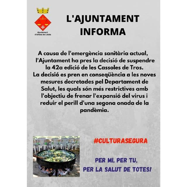 Artesa de Lleida suspèn el 42è Concurs de Cassoles de Tros per la Covid 19