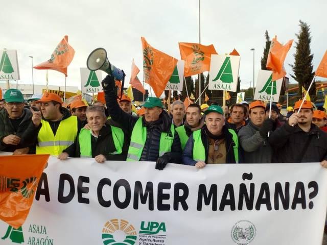 ASAJA Lleida participa en la manifestació de Saragossa en defensa del sector de la fruita dolça que ha aplegat un miler de productors