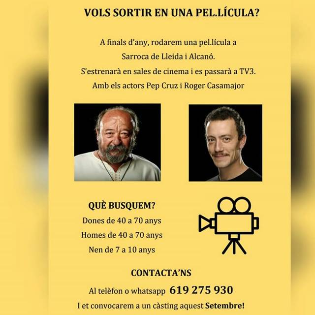 Busquen 'extres' per fer d'actors en una pel·lícula que es rodarà a Alcanó i Sarroca de Lleida