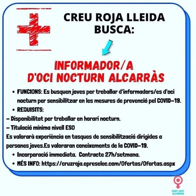 Creu Roja busca informadors per sensibilitzar sobre la Covid 19 els joves que surten de nit a Lleida, Tàrrrega, Mollerussa, Balaguer i Alcarràs