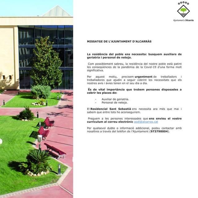 Crida urgent de l'Ajuntament d'Alcarràs per trobar auxiliars de geriatria i personal de neteja per la residència del poble afectada pel Covid 19