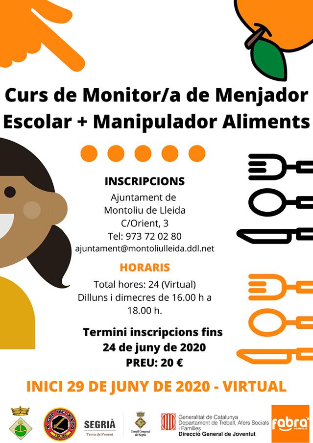 Curs virtual de monitor/a de menjador escolar i de manipulador/a d'aliments a Montoliu