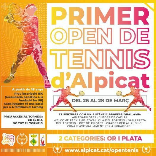 El 1r Open de Tennis d'Alpicat, del 26 al 28 de març per a jugadors i jugadores locals i a benefici de la Fundació 5H