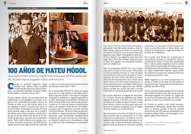 El Cádiz C.F. homenatja el montoliuenc Mateu Mòdol, que hi va jugar i que ha fet 100 anys