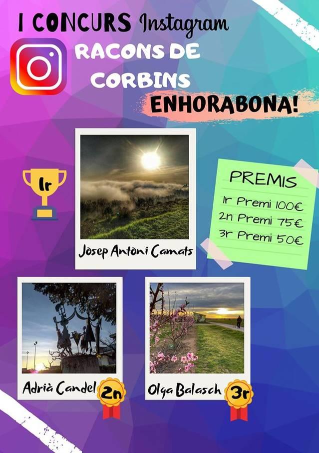 El primer concurs d'Instagram 'Racons de Corbins' ja té guanyadors i guanyadora