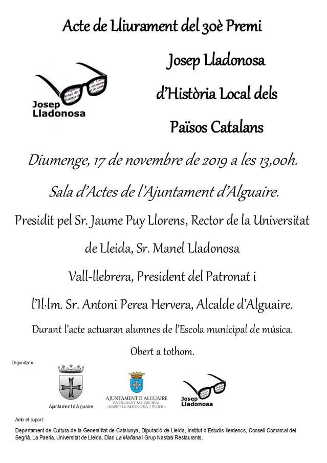 Entrega del 30è Premi Josep Lladonosa, el proper diumenge