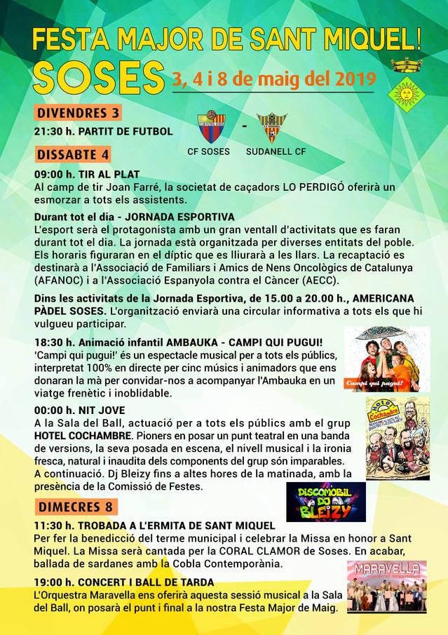 Esports, solidaritat, música i la trobada a l'ermita de Sant Miquel, a la Festa Major de Soses