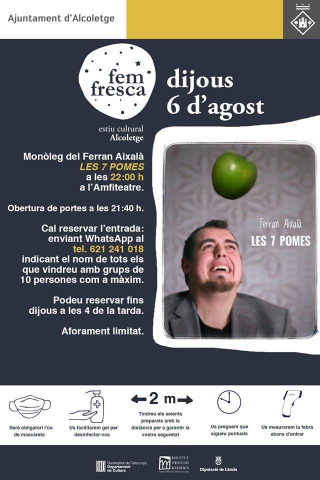 Ferran Aixalà i el seu monòleg 'Les 7 pomes', demà al cicle 'Fem Fresca' d'Alcoletge