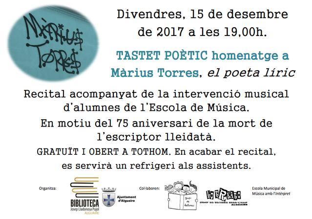 Homenatge a Màrius Torres a la biblioteca d'Alguaire