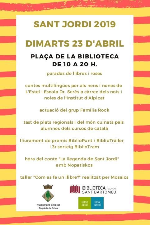 La Biblioteca d'Alpicat es prepara pel Sant Jordi i pel seu 29è aniversari
