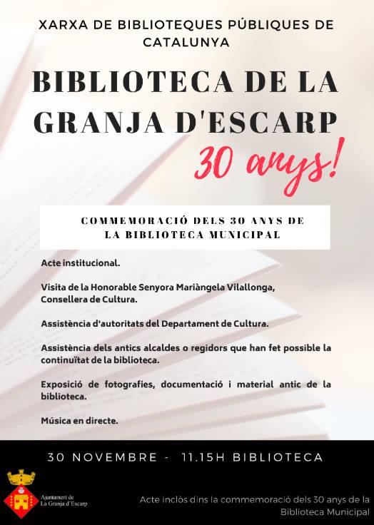 La Biblioteca de La Granja d'Escarp celebra 30 anys