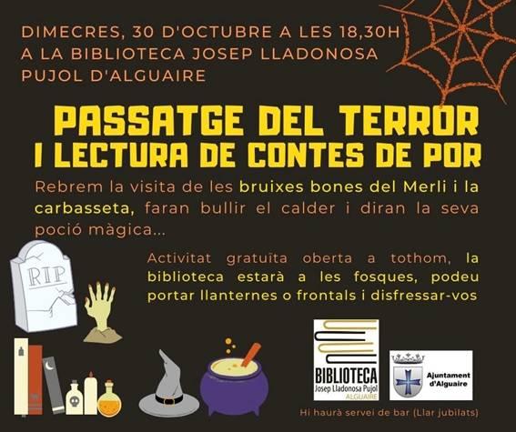 La Biblioteca Josep Lladonosa d'Alguaire celebra Halloween amb un passatge del terror i contes de por