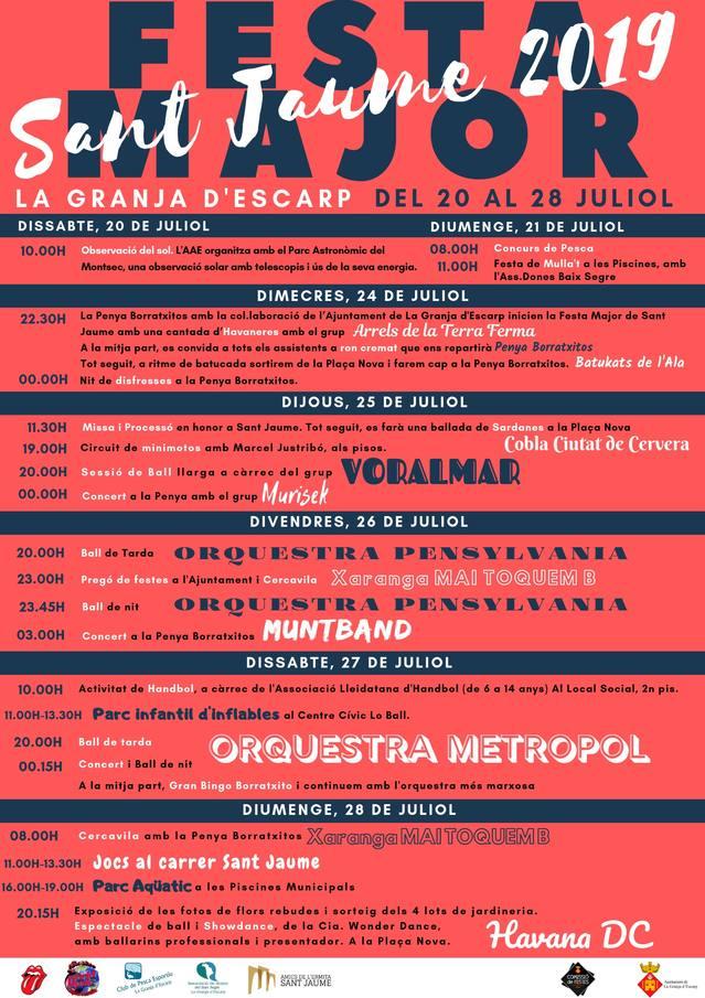 La Granja d'Escarp celebra del 20 al 28 la seva Festa Major de Sant Jaume