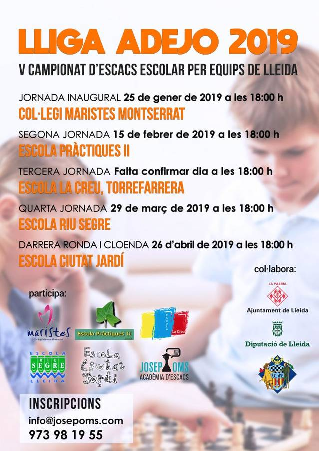 La Lliga ADEJO es posa en marxa el dia 25 i constarà de cinc jornades en diferents centres escolars del Segrià